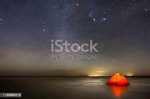 Milky way over lake in Erenhot, Inner Mongolia, China