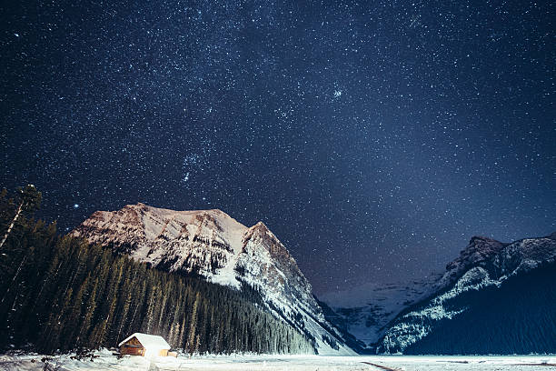 Milky way over Lake Louise in Banff National Park Winter Starry Night over the frozen Lake Louise in winter, Banff National Park. Canada. mt victoria canadian rockies stock pictures, royalty-free photos & images