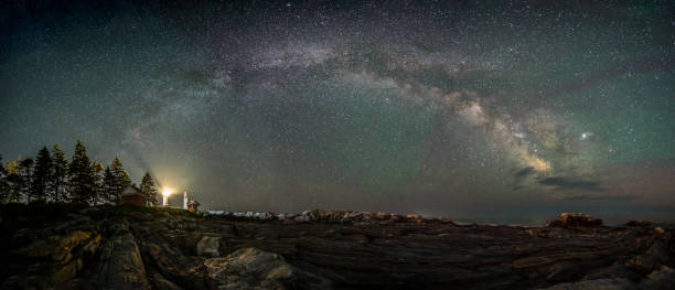 Milky Way over Lighthouse stock photo