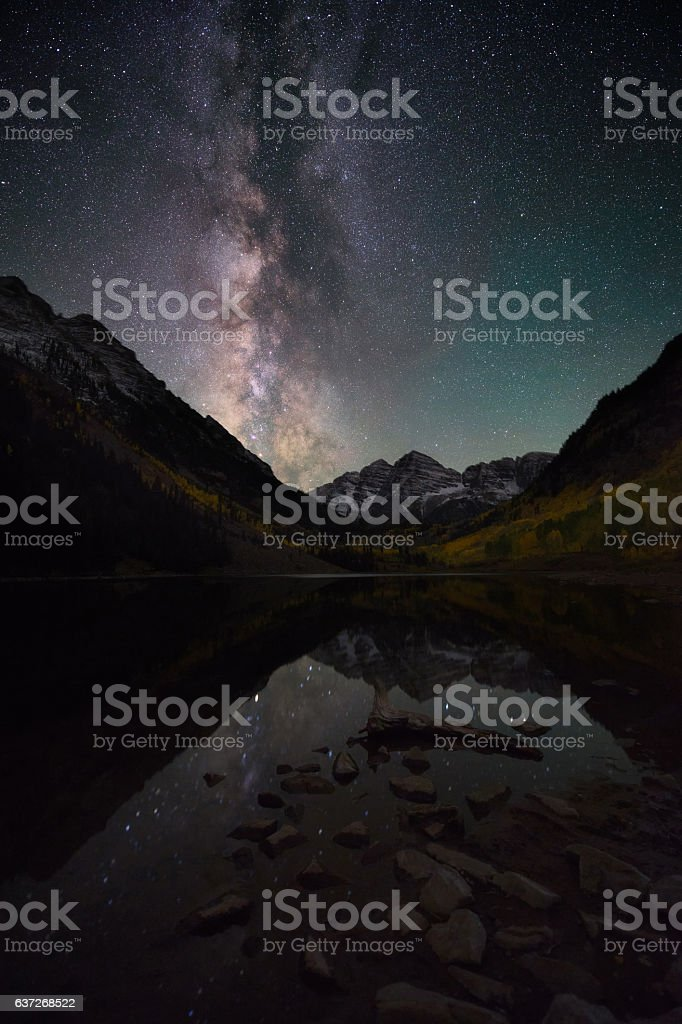 Milky way over Maroon Bells Colorado, Fall stock photo