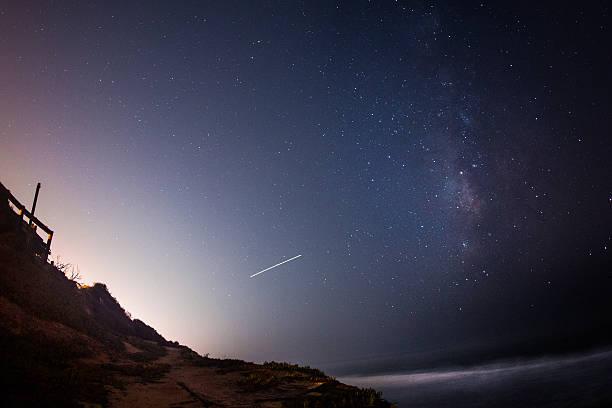 Milky Way Over Ocean stock photo