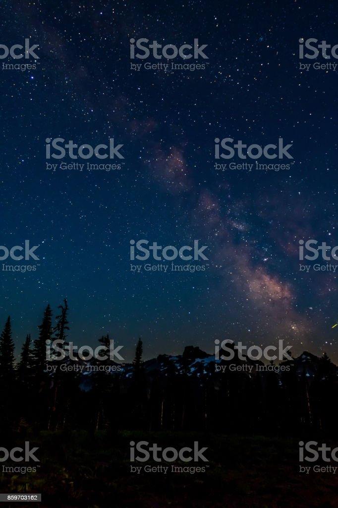 Milky Way Over Pinnacle Peak Vertical stock photo