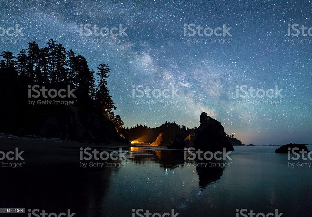 Milky Way over Ruby Beach stock photo