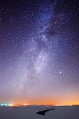 istock Milky Way over the country lights 531356595