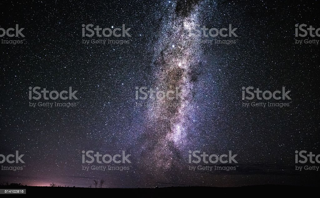 Milky Way over the desert stock photo