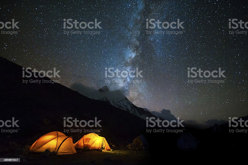 Milky way over the himalayas of Nepal Milky way over the himalayas at Island Peak base camp, Everest region of Nepal. Asia Stock Photo