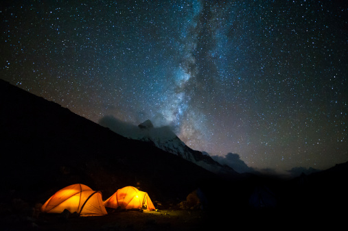 Milky Way Over The Himalayas Of Nepal Stock Photo - Download Image Now