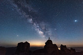 The Milky Way and a shooting star on the iceberg beams in China