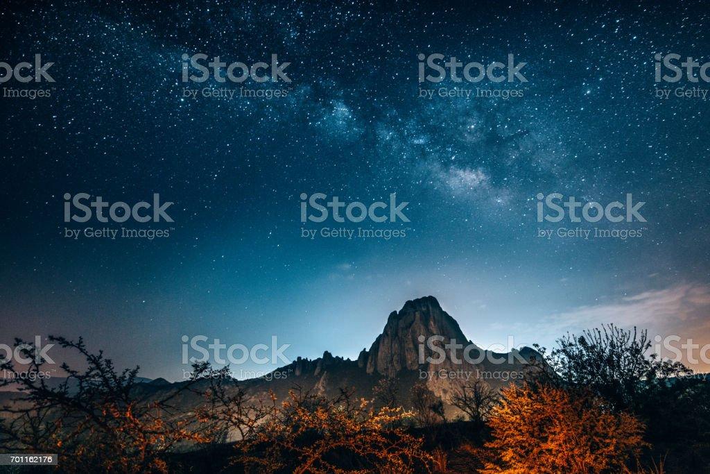 Milky Way over the Monolith of Bernal in Queretaro stock photo