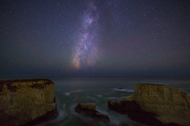 Milky Way over the Pacific ocean, California stock photo