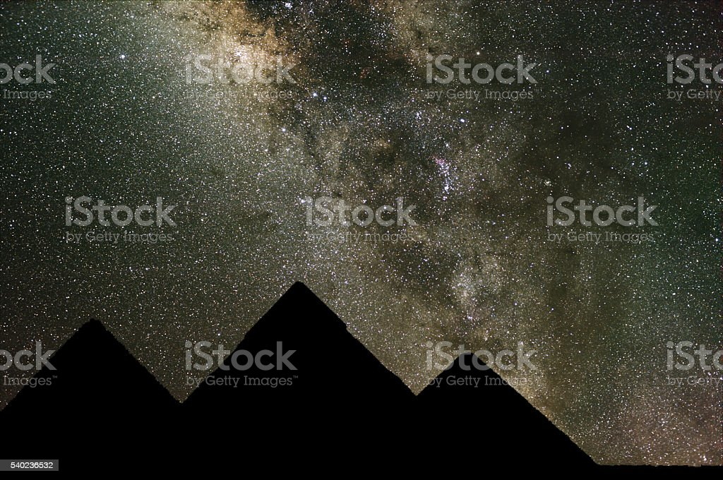 Milky Way over the Pyramids in Egypt. stock photo