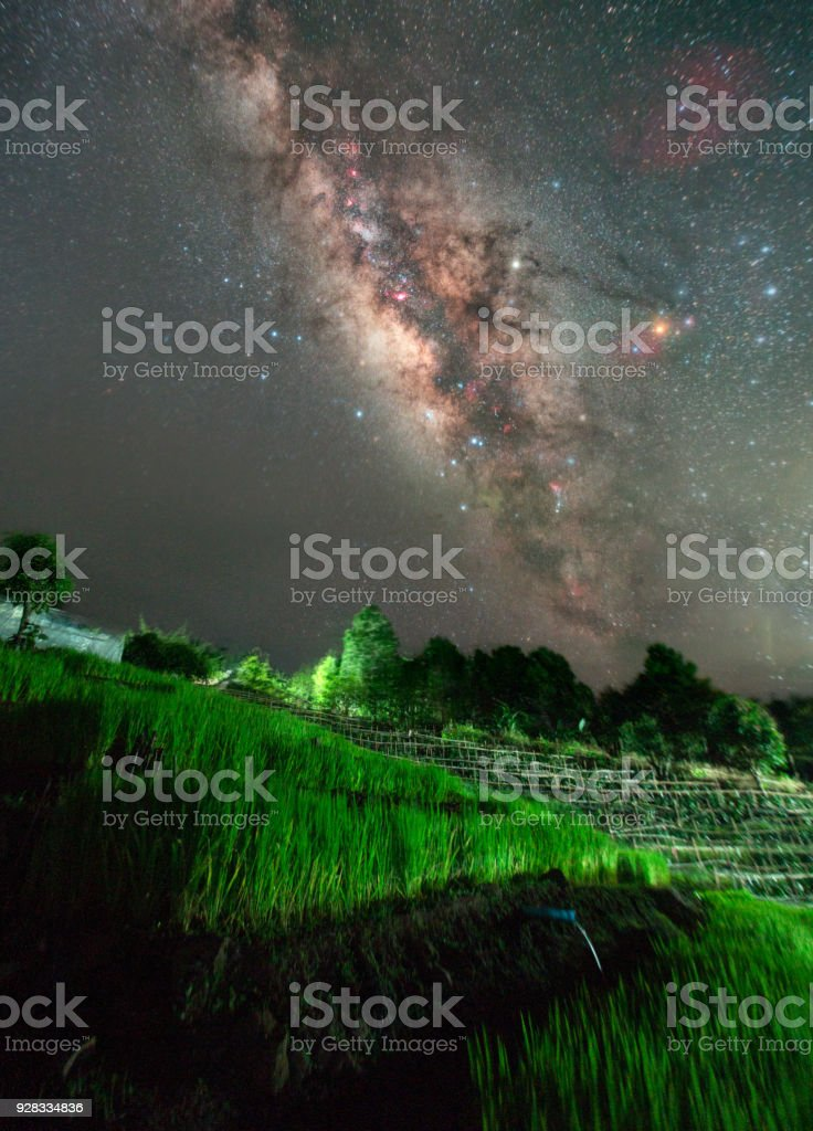 Milky way over the rice terrace at Nan province, Thailand stock photo