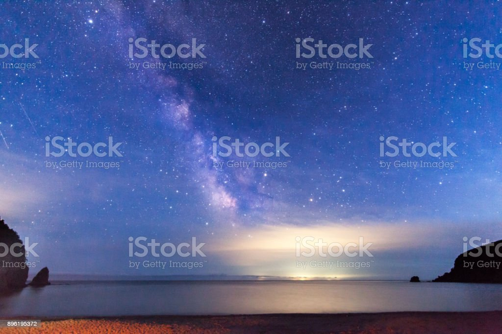 Milky way over the sea stock photo