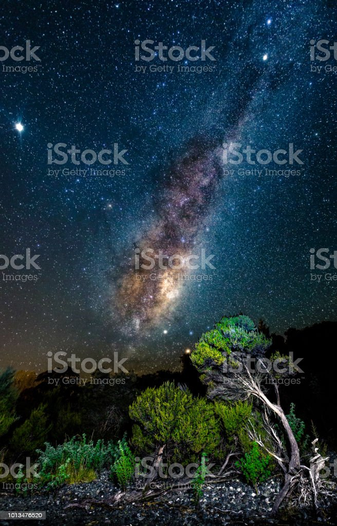 Milky Way Milky Way seen from New Zealand. Jupiter (upper left), Venus (between the Milky Way and Mars), Mars (red dot in the lower right) can also be seen in the shot. Adventure Stock Photo