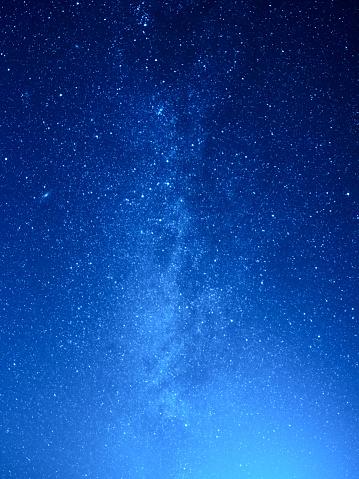 Wonderful rural scene of midnight sky