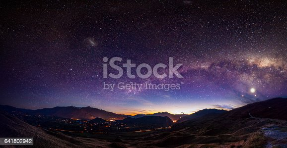 Scenic view of Queenstown, New Zealand with Milky Way
