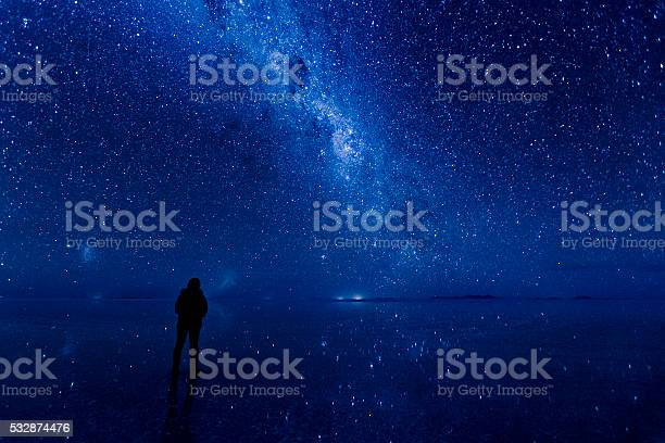 Photo of Milky way reflected on the water at Uyuni.