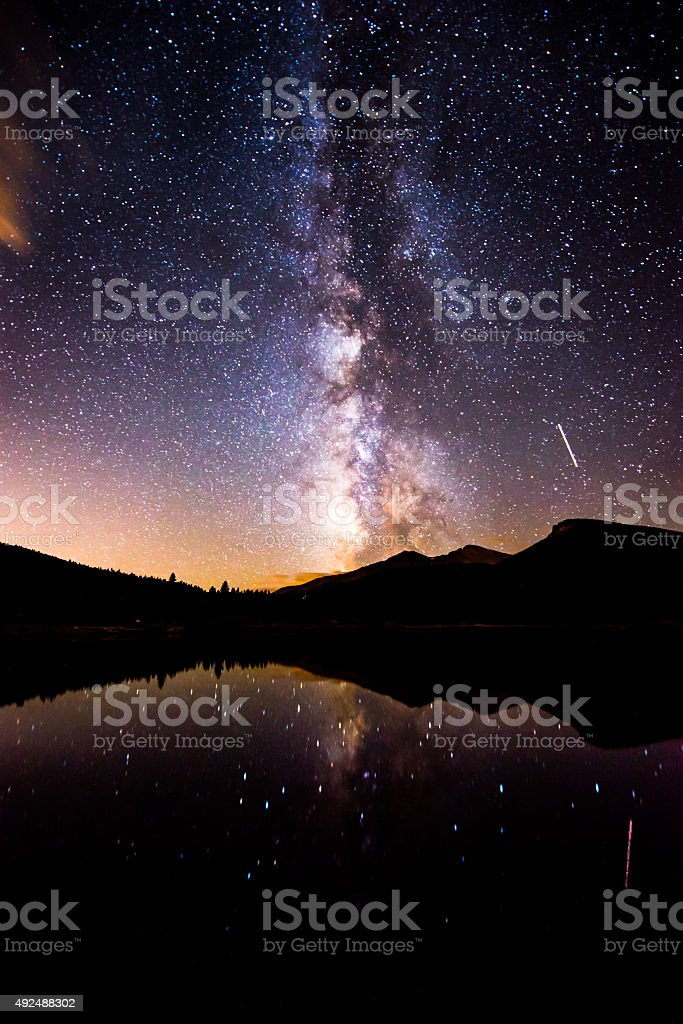 Milky Way Reflection in Lily Lake Colorado Landscape stock photo
