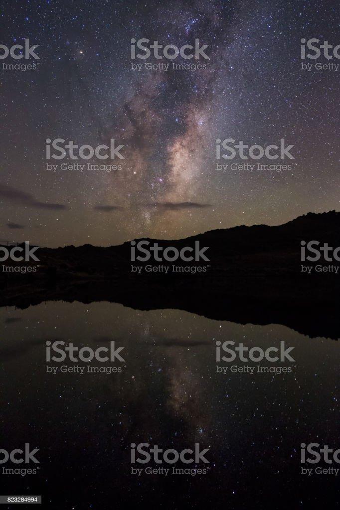 Milky Way reflections stock photo