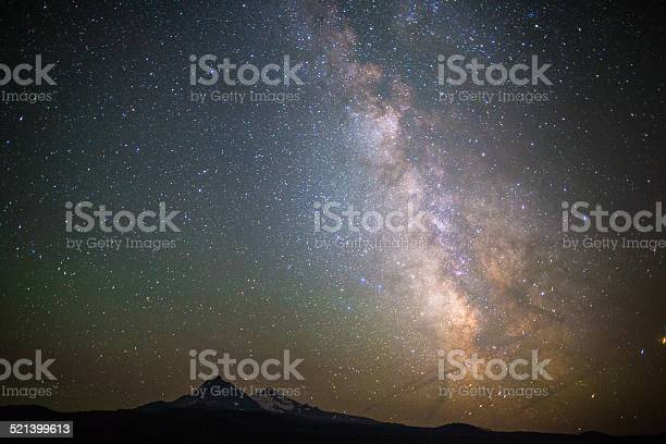 Photo of Milky Way rises out of the Three Sisters Mountains