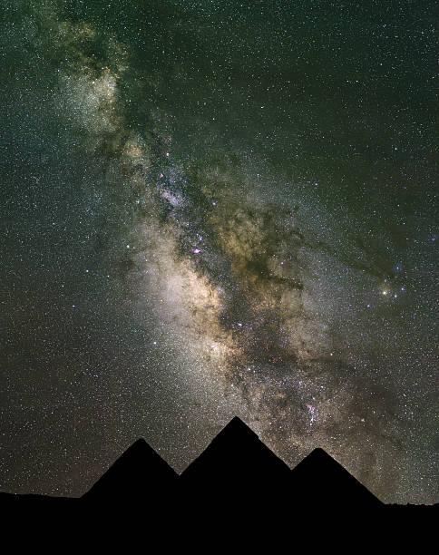 Milchstraße erhebt sich über die Pyramiden in Ägypten. – Foto