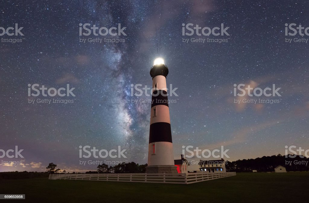 Milky Way rising behind Bodie Island Lighthosue stock photo