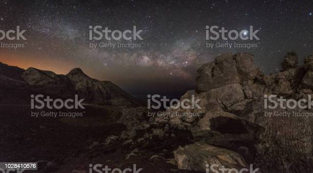 Photo of Milky way rising in a Mars-like landscape