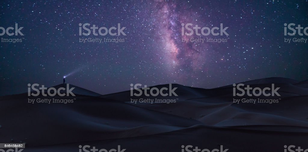Milky Way, Sahara desert, Morocco. stock photo