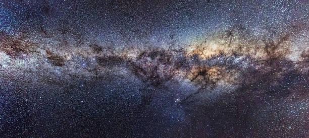 Milky Way shining bright at night stock photo