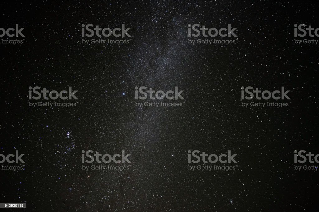 Milky way, stars and fogs in the Southern Hemisphere, Elqui Valley, Chile stock photo