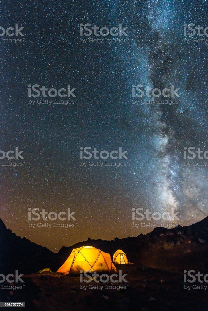 Milky way stars rising over illuminated mountain tents Himalayas Nepal stock photo