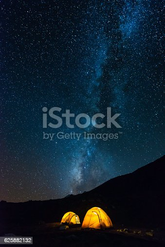 istock Milky way stars shining over illuminated mountain tents Himalayas Nepal 625882132