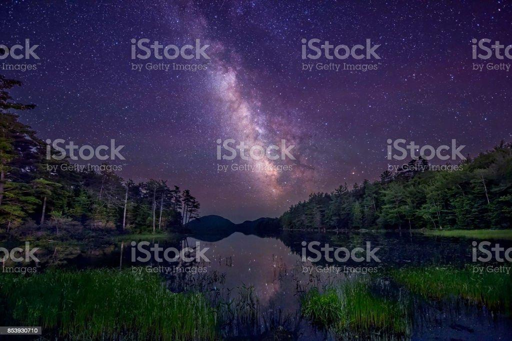 Milky Way summer night sky ay Acadia National Park stock photo