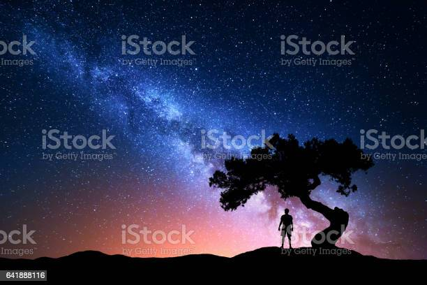 Photo of Milky Way, tree and silhouette of alone man. Night landscape