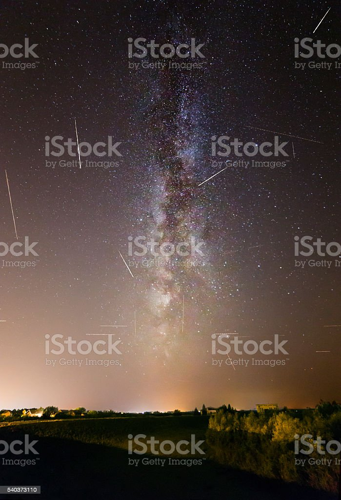 Milky Way with a lot of meteor showers called Persidian meteor shower