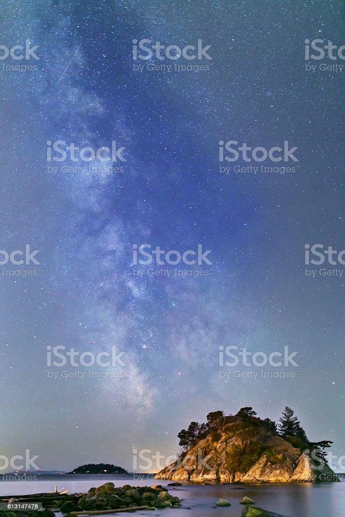 Milky Way with islet, Whytecliff Park, West Vancouver, BC, Canada stock photo