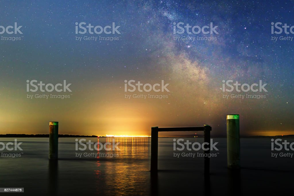 Milky Way with pier poles stock photo