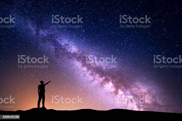 Photo of Milky Way with silhouette of a standing man