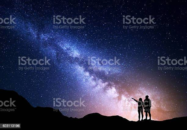 Photo of Milky Way with silhouette of people on the mountain