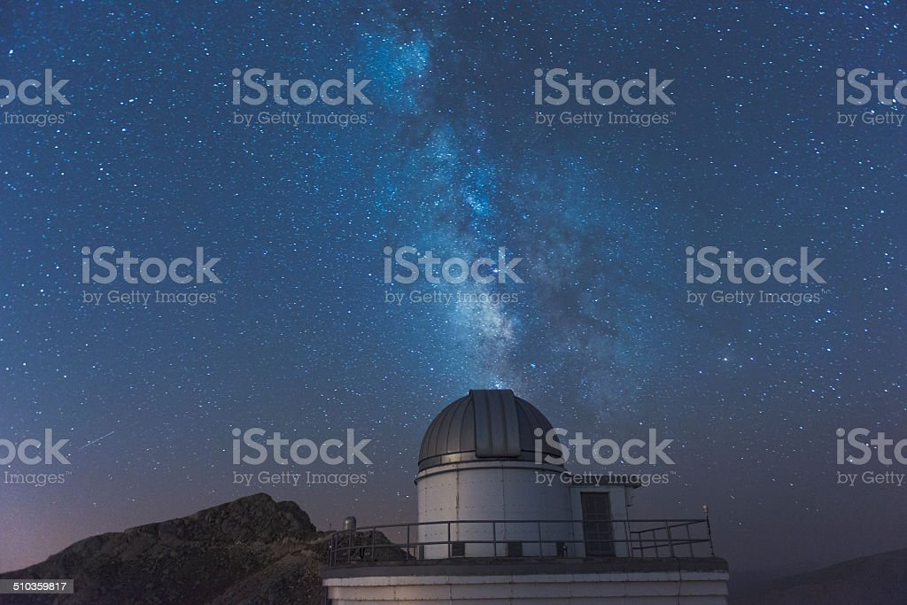 Milky Way with Telescope stock photo