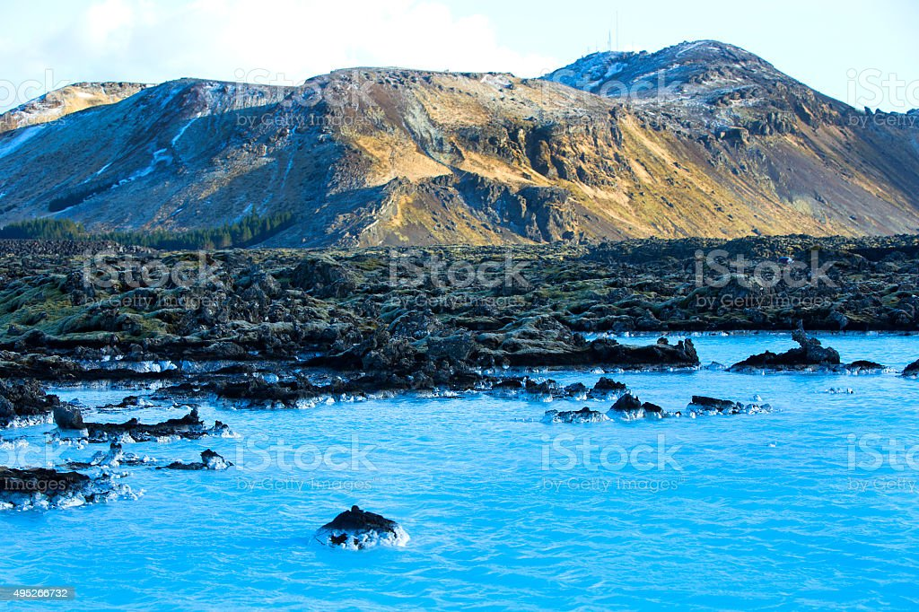 Milky white and blue water of the Blue Lagoon stock photo