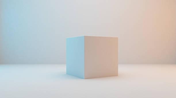 Milky white cube isolated on white background stock photo