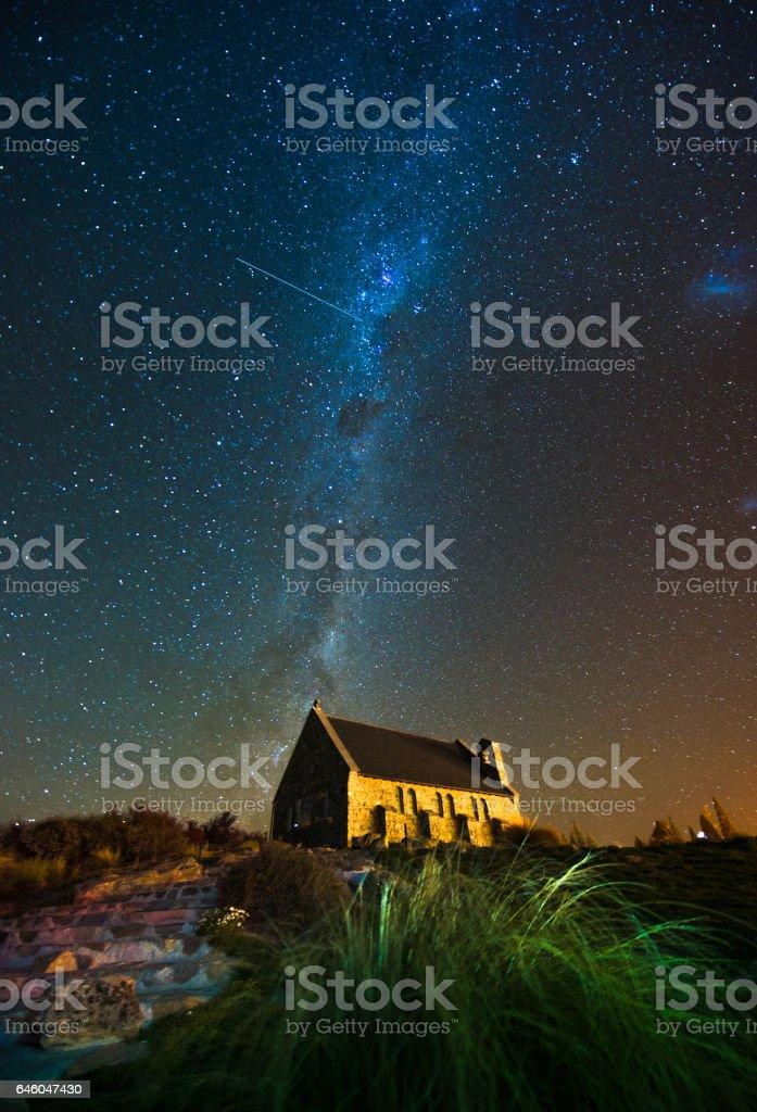 milkyway above Church of Good Shepherd, Lake Tekapo, New Zealand stock photo