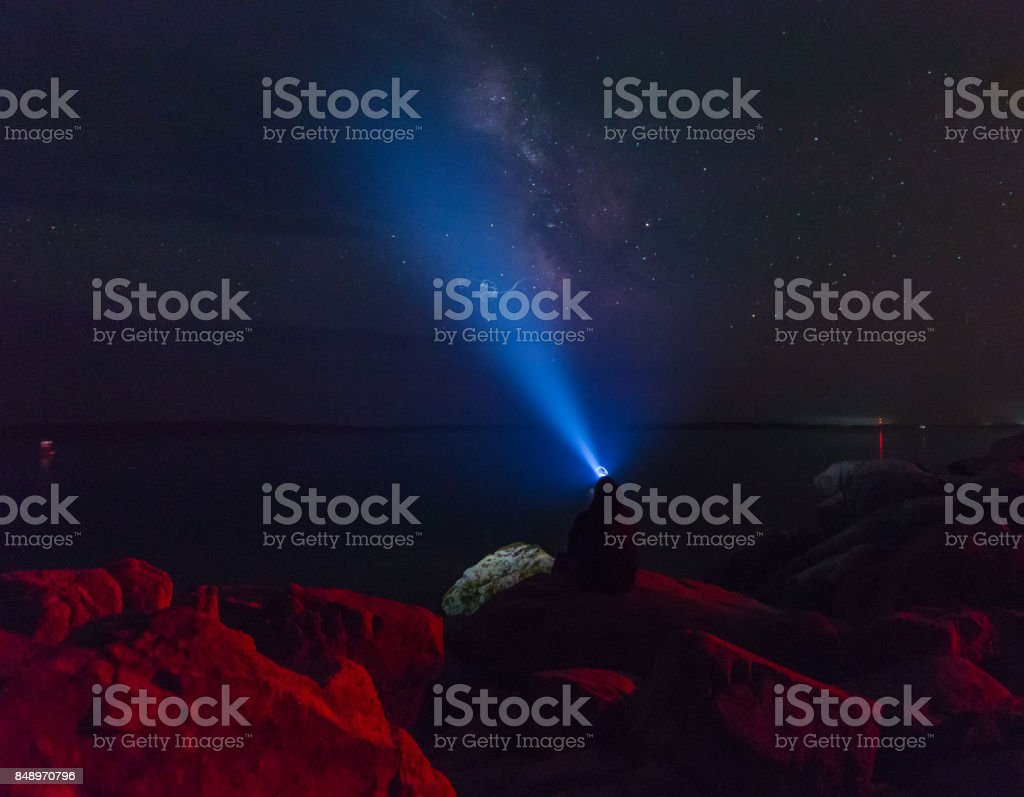 Milkyway over at Acadia National Park stock photo