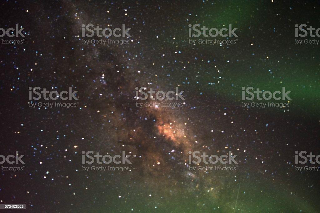 Milkyway with aurora australis stock photo