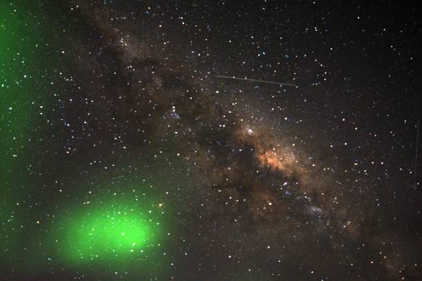 Milkyway with aurora australis stock photo
