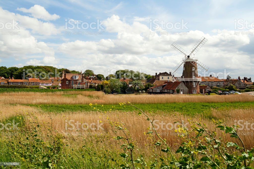 Mill and cottages at Cley next the Sea stock photo