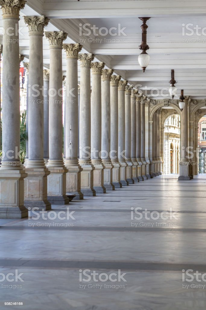 Mill colonnade in Karlovy Vary, Czech Republic stock photo