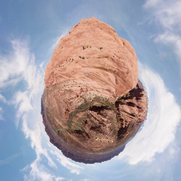 Mill Creek Trailhead, Moab, Utah, Tiny Planet View stock photo