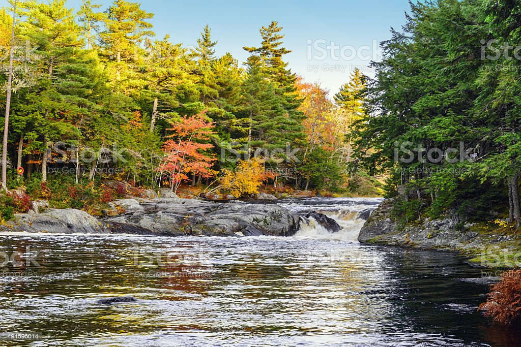 Mill Falls along the Mersey River in fall stock photo